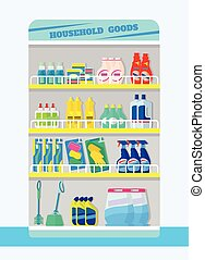 Counter with detergents Vector flat illustration