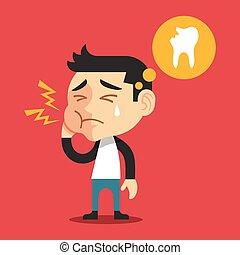Toothache vector flat cartoon illustration