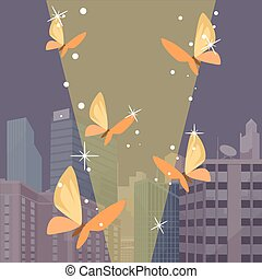 Moths and city Vector flat illustration
