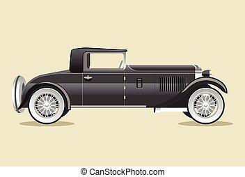 Retro old black car