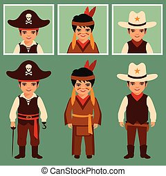 cowboy, indian and pirate, american people, traditional...