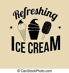 Ice Cream icon, label or stamp on retro style background,...