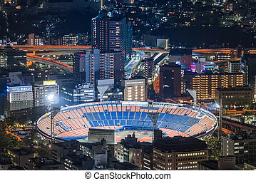 Aerial night view of Yokohama Cityscape and Football Stadium...