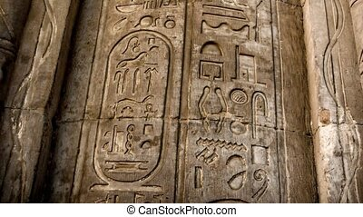 Kom-Ombo, mural column hieroglyphics - Detail of mural...