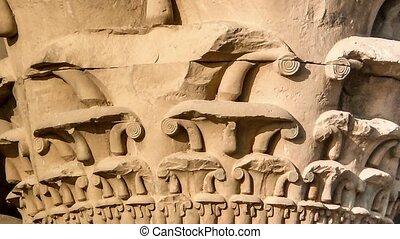 Kom-Ombo, columns capitals - Detail of columns capitals of...