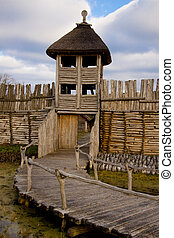 Wooden wall and tower - Small wooden bridge, wall and tower...