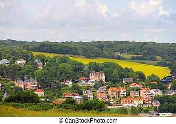 Etretat, France - Panoramic view of village Etretat in Haute...