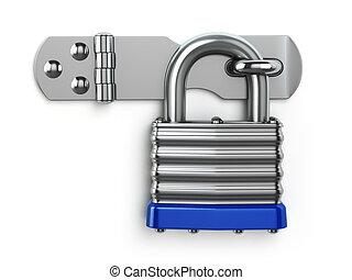 Padlock hanging on lock hinge Security concept 3d