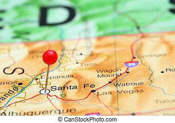 Santa Fe pinned on a map of USA - Photo of pinned Santa Fe...