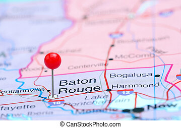 Baton Rouge pinned on a map of USA - Photo of pinned Baton...