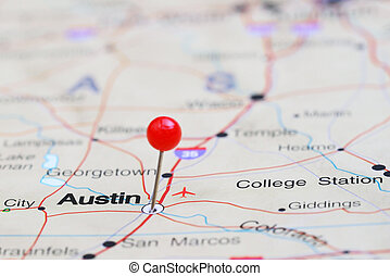 Austin pinned on a map of USA - Photo of pinned Austin on a...