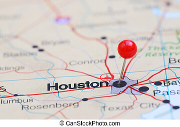 Houston pinned on a map of USA - Photo of pinned Houston on...