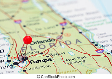 Tampa pinned on a map of USA - Photo of pinned Tampa on a...