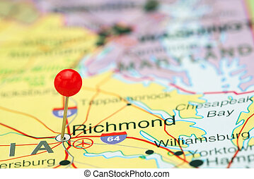 Richmond pinned on a map of USA - Photo of pinned Richmond...