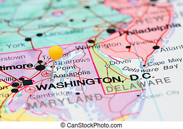 Annapolis pinned on a map of USA - Photo of pinned Annapolis...