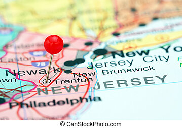 Trenton pinned on a map of USA - Photo of pinned Trenton on...