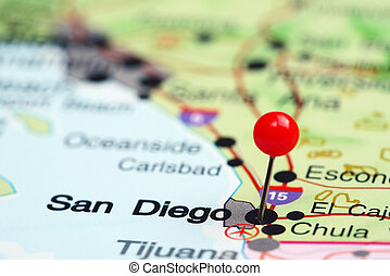 San Diego pinned on a map of USA - Photo of pinned San Diego...