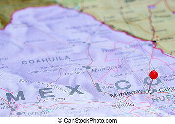 Monterrey pinned on map of America - Photo of pinned...