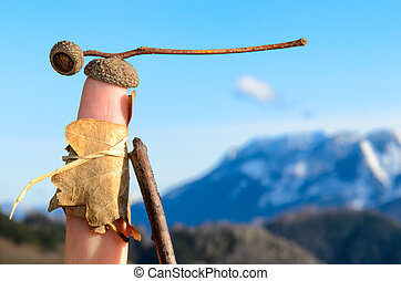Wanderlust: symbolized by a natural clothed glove puppet