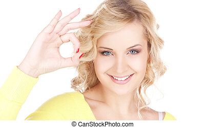ok - bright picture of lovely blonde showing ok sign