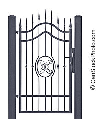 Forged decorative pedestrian gate, isolated vertical large...