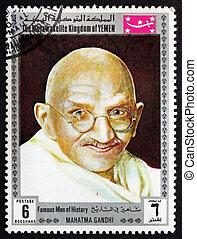 affrancatura, francobollo, Yemen, 1969, Mahatma, Gandhi,