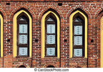 Koenigsberg Cathedral, facade fragment Kaliningrad, Russia -...