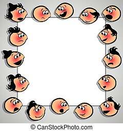 Frame with faces with diferent expressions. Vector...