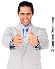 Portrait of an asian businessman with thumbs up isolated on...