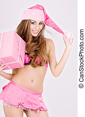 cheerful santa helper girl with gift box - picture of...