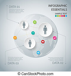 Abstract Infographic design on the grey background Vector...