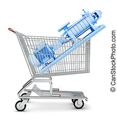 Water pump in shopping cart on isolated white background