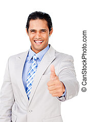 Young businessman with thumb up celebrating a victory...