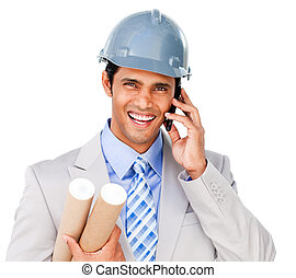 Close-up of a smiling architect on phone