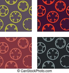 Chainrings pattern - Vector pack of bike chainrings seamless...