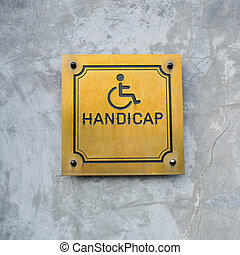 Disabled Handicap Icon and wording Handicap Sign made from...