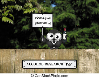 Alcohol Research - Comical drunk bird with alcohol research...