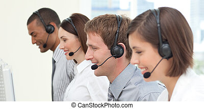 Concentrated customer service agents working in a call center