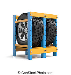 3d illustration. Storage of automobile wheels