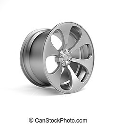 3D illustration. Metalichesky automobile wheel
