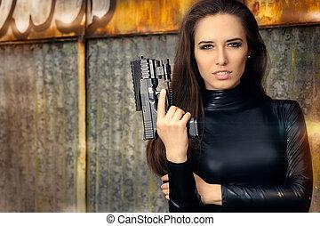 couro, espião, arma, agente, paleto