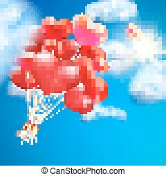 Heart-shaped baloon in the sky. EPS 10