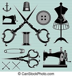set of items and equipment to topics tailor, clothing,...