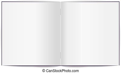 Open brochure with white clean sheets. Isolated illustration...
