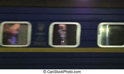 Timelapse of moving passenger train