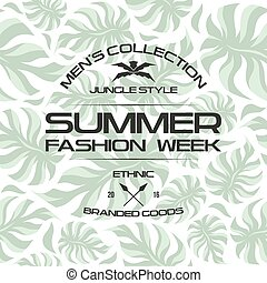 Summer fashion week flyer and seamless pattern. Light colors