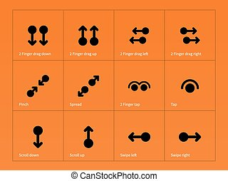 Set of multitouch gestures icons on orange background Vector...