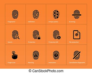 Security finger print icons on orange background Vector...