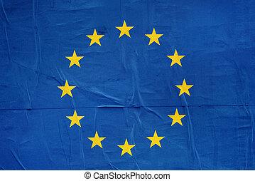 EU Flag Print on Grunge Poster Paper - European Union EU...