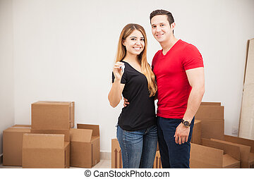 Couple with a brand new home